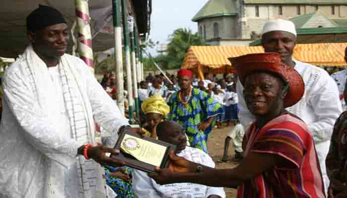 Winners at the festival receiving  their plaques